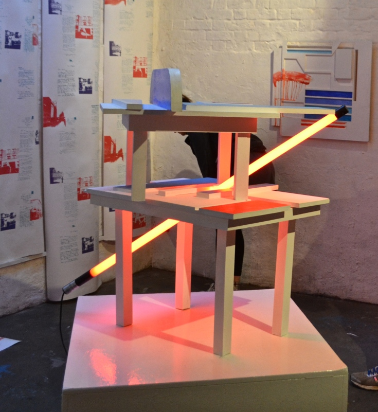 TABLES. Year: 2015 Media: Sculpture. Materials: Emulsion paint on wood and LED tube light.