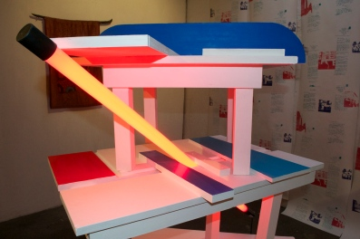 TABLES. Year: 2015. Media: Sculpture. Materials: Emulsion paint on wood and LED tube light.
